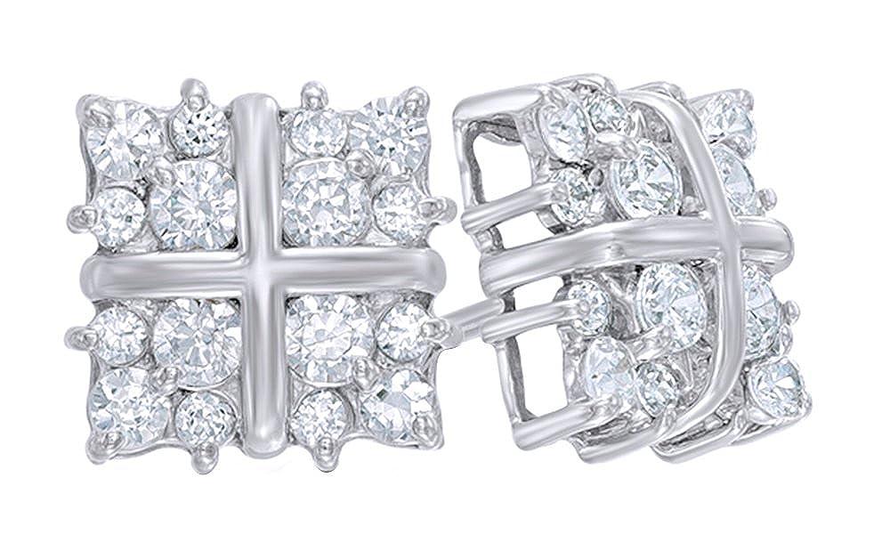 mit natürlicher Diamant-Cluster-Ohrstecker in 14 kt 585, Weißszlig;Gold-0.62 cttw 14 Karat (585) WeißGold