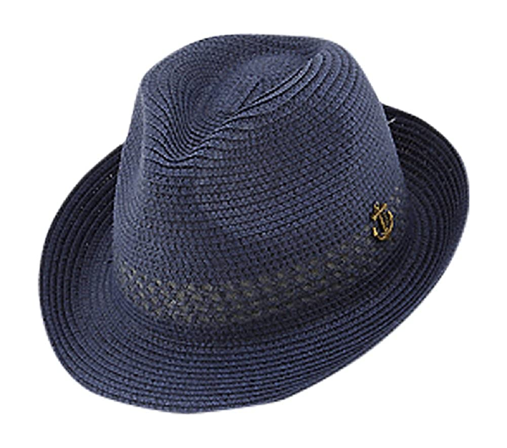 2Chique Boutique Mens Navy Blue Patterned Anchor Fedora