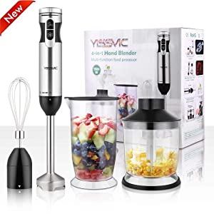 YISSVIC Hand Blender 1000W 700ml Immersion Blender 9 Speed Control 4-in-1| [2019 Updated]Powerful Stick Blender| Chopper| Whisk| BPA-Free| 500ml Food Grinder for Soups Sauces Smoothie Puree Infant Food
