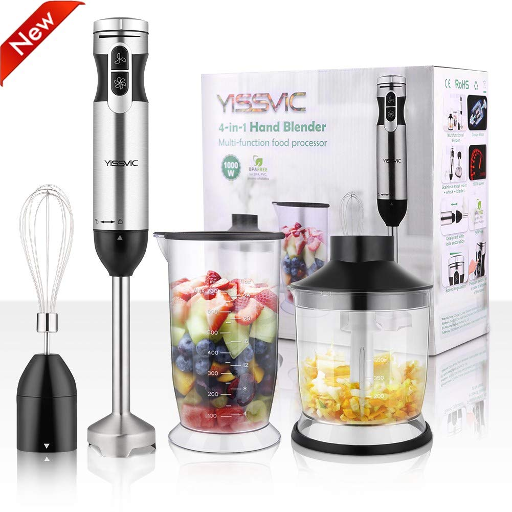 YISSVIC Hand Blender 1000W 700ml Immersion Blender 9 Speed Control 4-in-1|[2019 Updated]Powerful Stick Blender| Chopper| Whisk| BPA-Free| 500ml Food Grinder for Sauces Smoothie Puree Infant Food