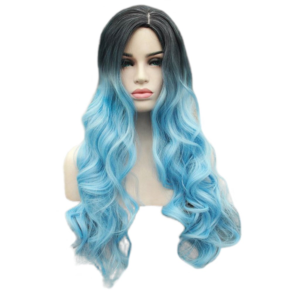Panda Hair Women Wigs 29 Inch Long Wavy Ombre Color Synthetic Wig - Cosplay Party Use Wig for Women(Black to Sky Blue)