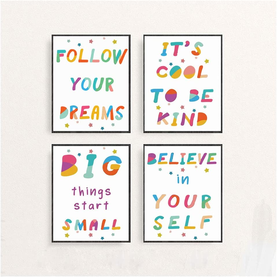 Colorful Abstract Inspirational Wall Art Prints-Set of 4 Kids Motivational Posters-Kids Bathroom Wall Decor Childrens Room Decor-Set of 4 (8x10)-(Unframed) (Encourage the posters, 8