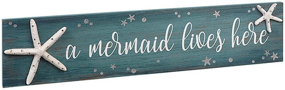 """Grasslands Road 474122 Mermaid Lives Here Sign with Starfish and Rhinestone Accents 4"""" X 18"""", White"""