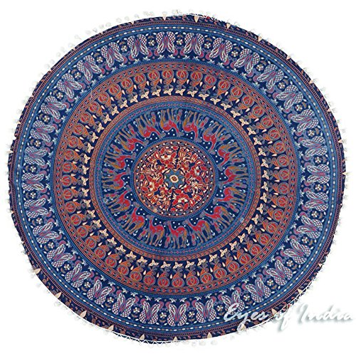 Eyes of India - 32'' Blue Floor Pillow Cushion Seating Throw Cover Mandala Hippie Round Colorful Decorative Bohemian boho dog bed IndianCover Only by Eyes of India (Image #3)