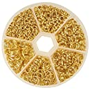 PandaHall Elite Split Rings Jump Ring 4-10mm Gold Color 1 Box for Jewelry Making