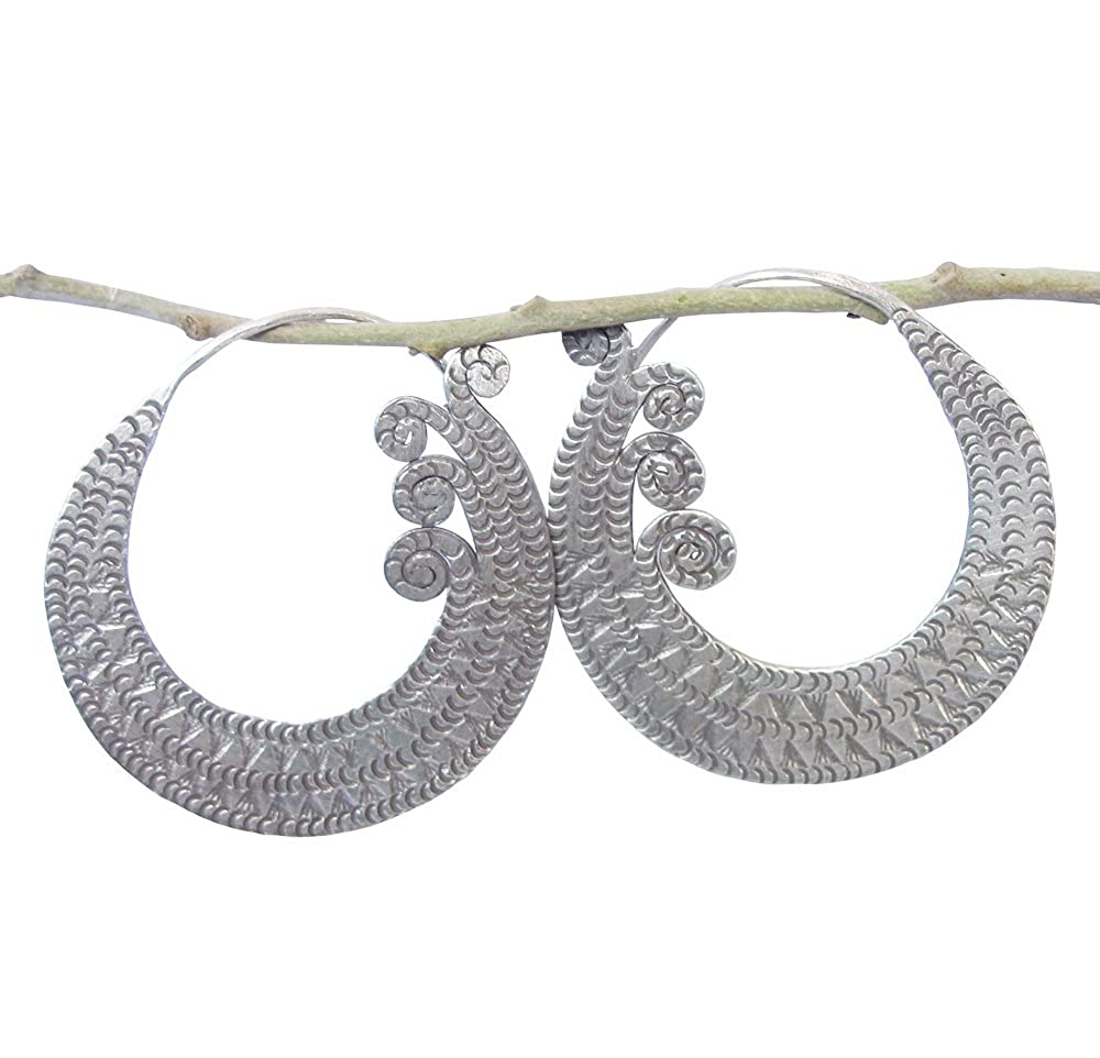 BEAUTIFUL THAI KAREAN HILL TRIBE SILVER CIRCLE EARRING SIZE 40 x 40 MM BY HAND MADE ThaiJewelry WEIGHT 15 G