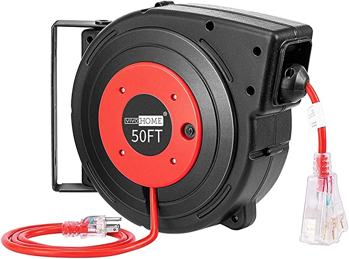 VIVOHOME Heavy Duty 50ft Retractable Extension Cord Reel with Ceiling Wall Mount Swivel Bracket and LED Light Connector ETL Certified