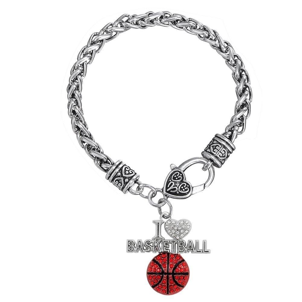 Smalto rosso basket con cristallo ciondolo spessa catena di grano bracciale gioielli YI WU KE JI