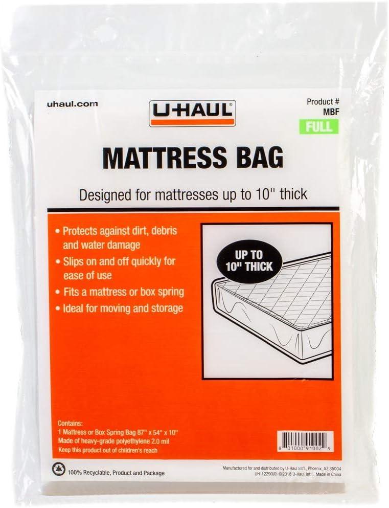"U-Haul Standard Full Mattress Bag – Moving & Storage Cover for Mattress or Box Spring – 87"" x 54"" x 10"""