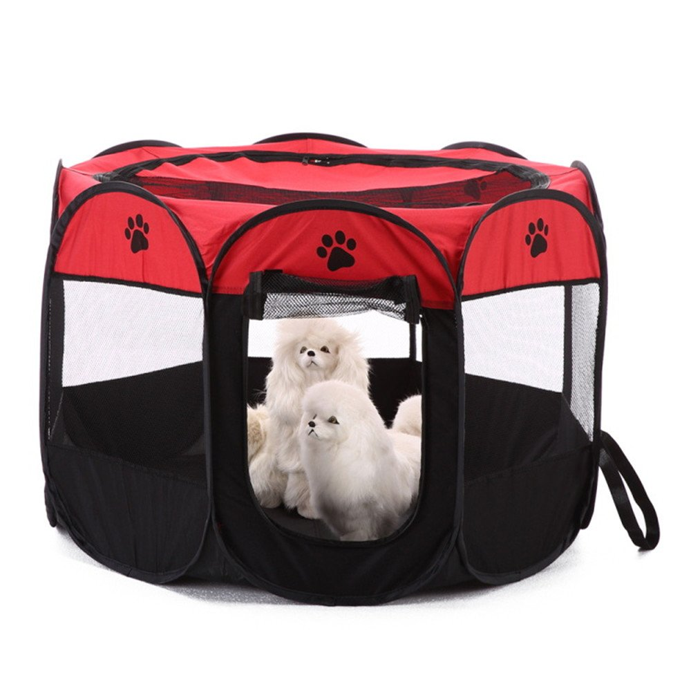 Leowow Dog Playpen Exercise Puppy Pen Pop Up Kennel For Indoor Outdoor 600d Oxford Cloth-Red