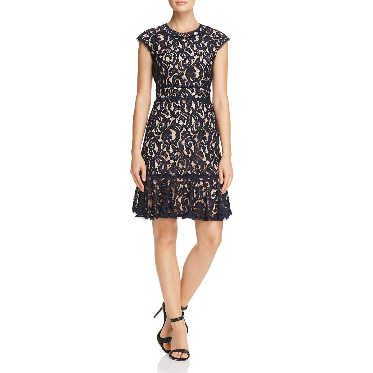 Dark Navy Nanette Nanette Lepore Womens Lace Flounce Hem Cocktail Dress