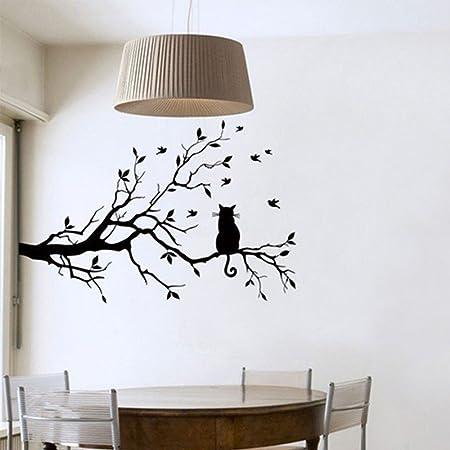 Adesivi Murali Rami Stickers Neri Gatto Muri in Camera da letto Dormitorio  e Soggiorno Decorazione Amovibile Art Parete 58 * 38cm