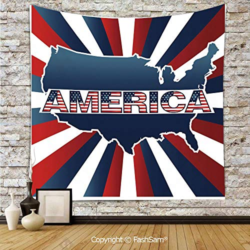 FashSam Tapestry Wall Hanging America Typography with National