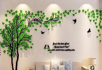 Marvelous Stickerkoenig ACRYL 3D Wandtattoo MEGA XXL Baum Vögel Spruch, Blätter  Dekoration DIY XXL 240x120cm (