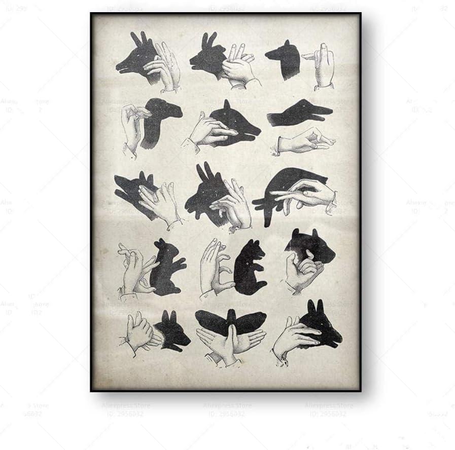 Cartel vintage Marionetas de sombra de mano Arte de la pared Impresión en lienzo Arte mágico antiguo Animal Lienzo Pintura Decoración Imagen-50x70cm Sin marco