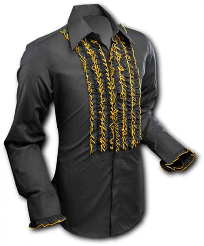 Vintage Shirts – Mens – Retro Shirts 70s Shirt ruche black gold chenaski £39.41 AT vintagedancer.com