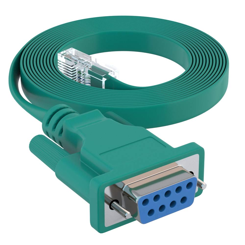 7 Foot Blue DB9 Female to RJ45 Male Rollover Console Cable for Cisco by CableRack