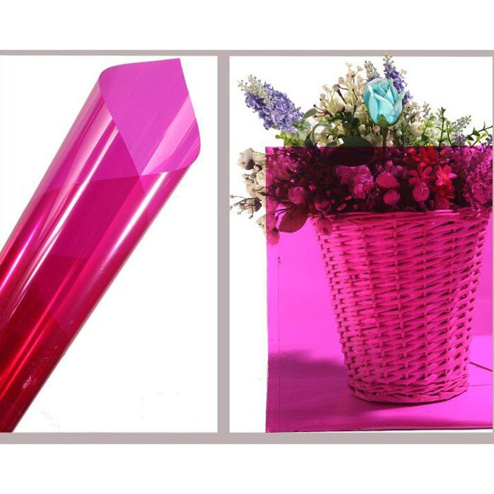 HOHO 35.4''x1181.1'' Colorful Transparent Window Decorative Tint Film Sun Block Stickers(Rose red)