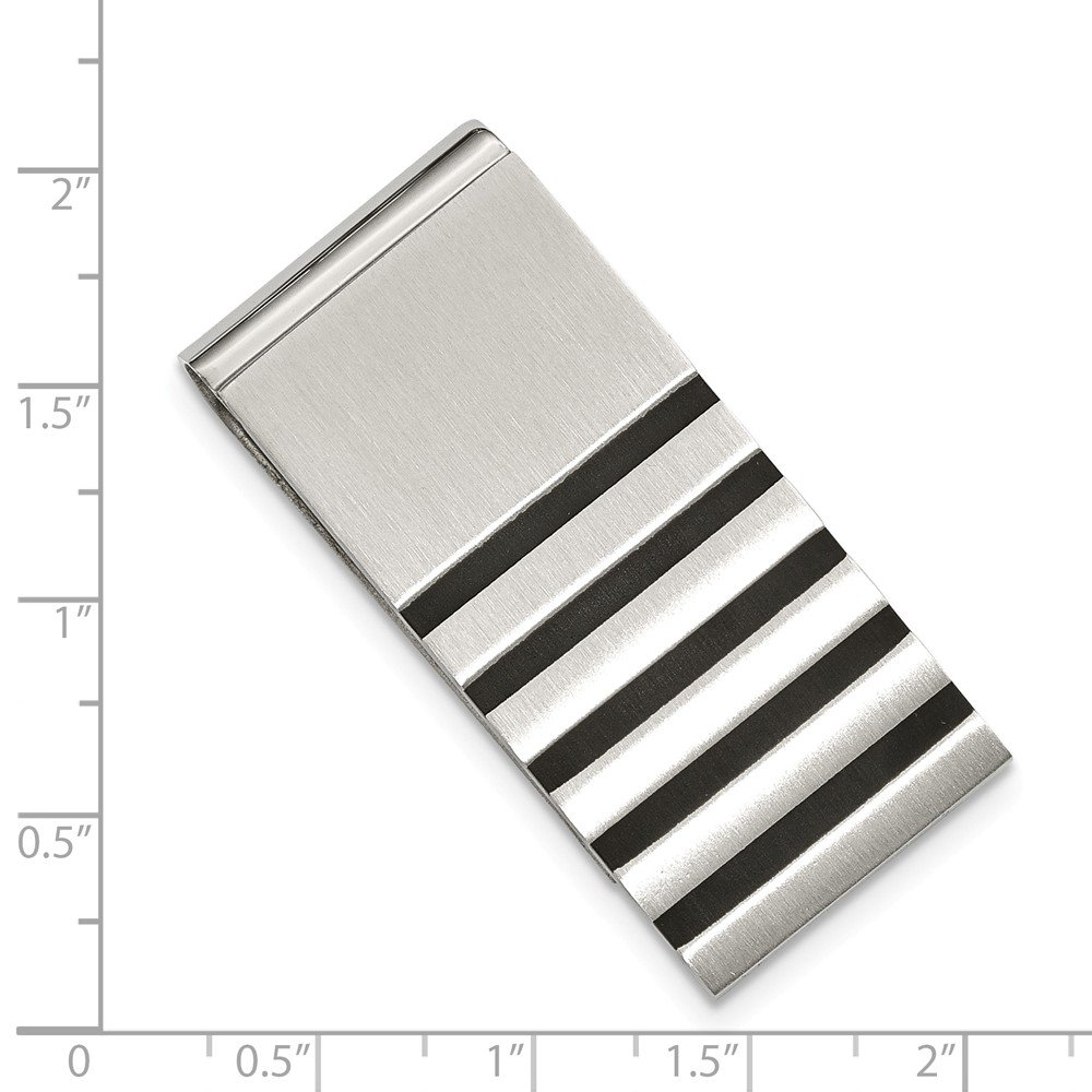 Stainless Steel Brushed w//Rubber Accents Money Clip
