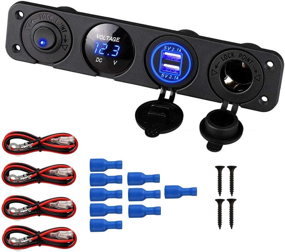 Thlevel Car Charger Switch Panel, Enchufe del Cargador USB Dual de 12V + Adaptador para Encendedor de Cigarrillos + voltímetro LED Azul + Panel de Interruptor de Palanca ON/of