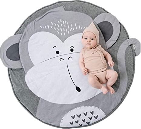Round Rug for Kids Crawling Mat Cartoon Sleeping Cotton Rugs Air-Conditioned Rug with Cute Penguin Pattern Kids Room Decor Grey 35.4 inches LISIBOOO