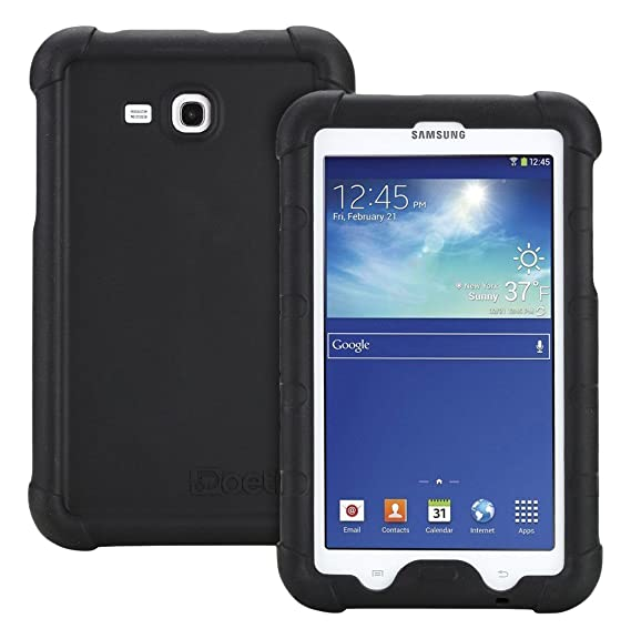 official photos 10b15 b6353 Poetic Turtle Skin Bumper Silicone Case for Samsung Galaxy Tab 3 Lite 7.0  and Galaxy Tab E Lite 7.0, Black