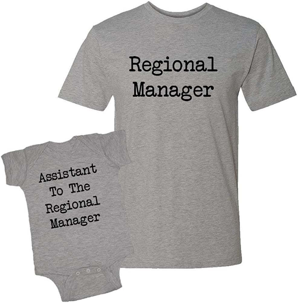 Regional Manager & Assistant to The Regional Manager - Baby Bodysuit & T-Shirt Matching Set (Heather, Large/6M)