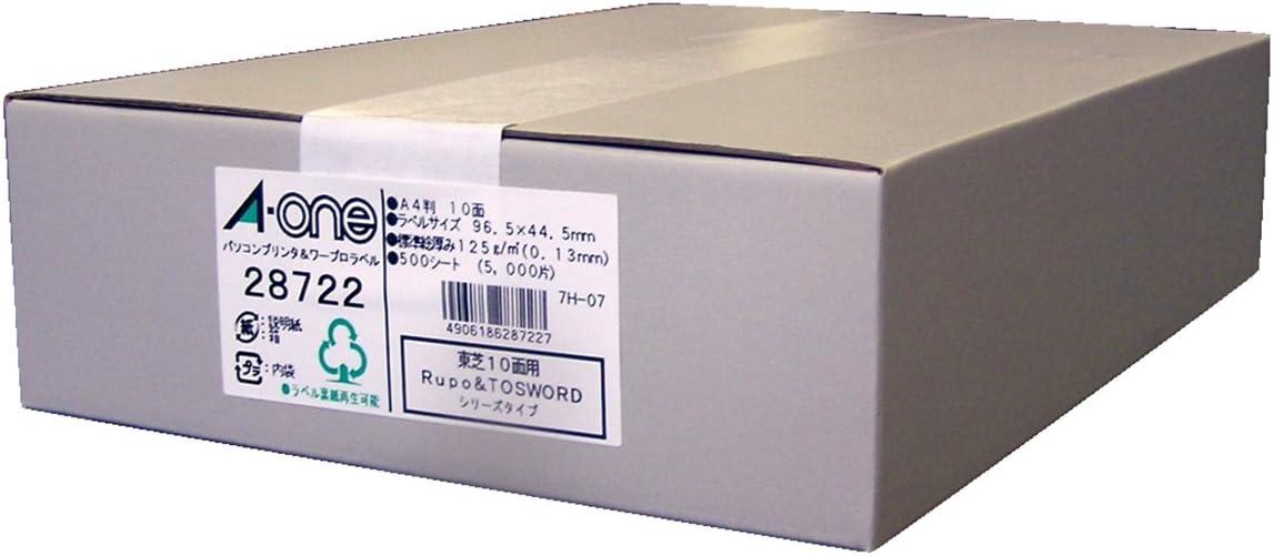エーワン パソコン&ワープロラベル 東芝Rupo&TOSWORDシリーズタイプ A4 10面 500シート 28722