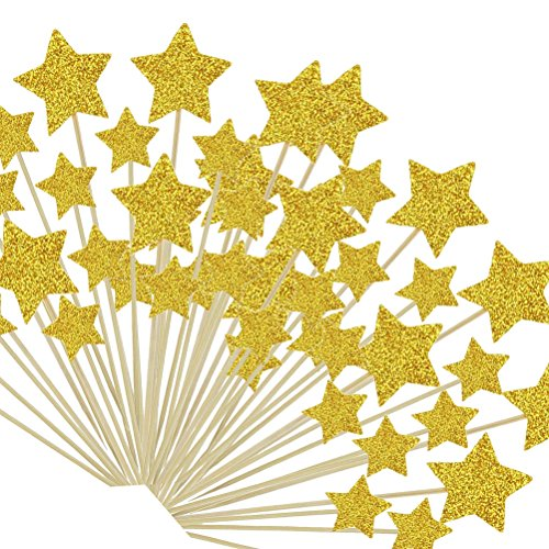 Star Cupcake Picks - TableRe 108 Pieces Twinkle Twinkle Little Star Birthday Cupcake Toppers Baby Shower Cupcake Toppers Gold Star Toppers