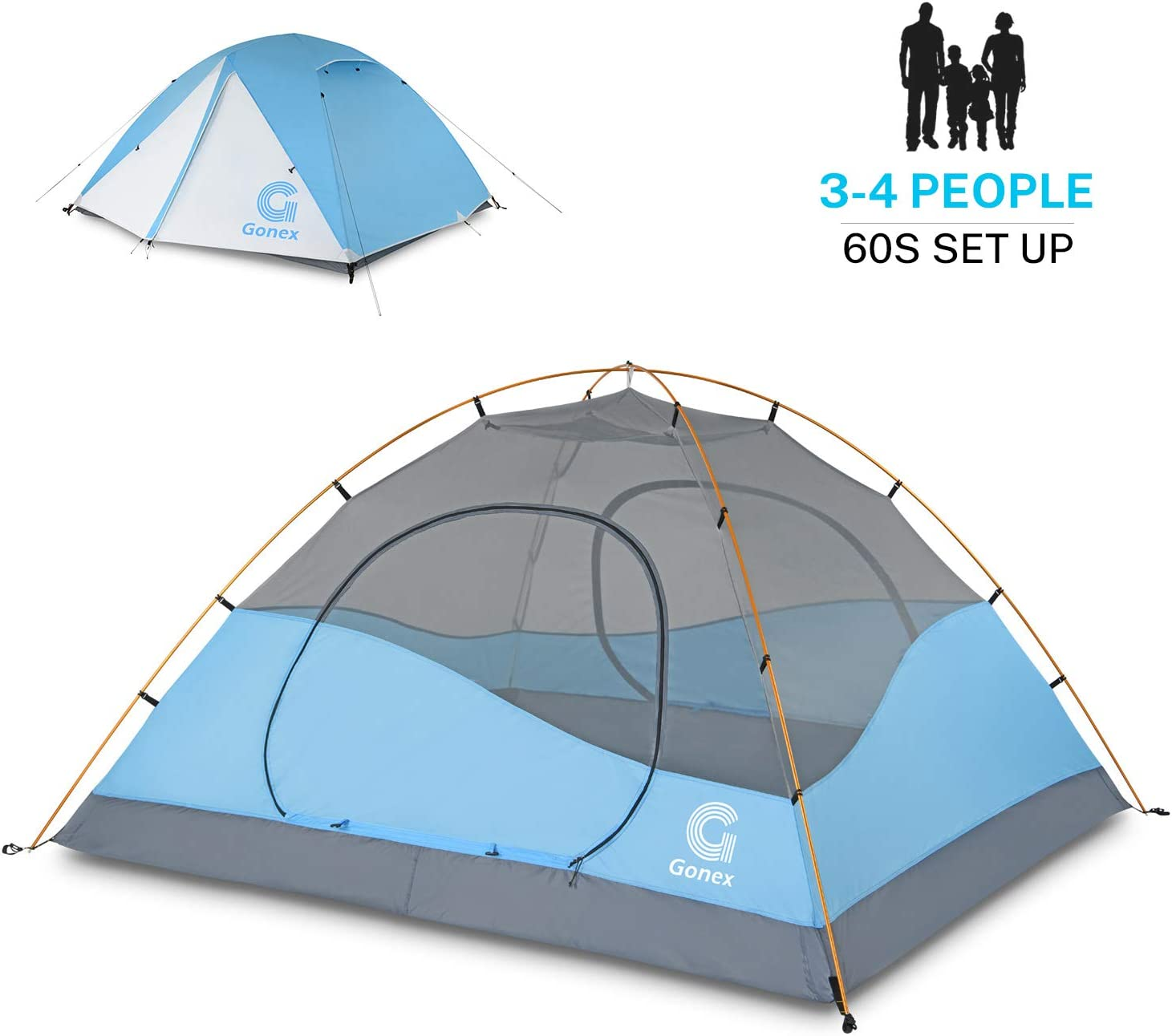 Gonex Camping Tent 3 4 People Dome Tent Windproof & Waterproof Camping Tent for 3 Seasons for Camping Hiking Backpacking & Mountaineering, Easy to Set