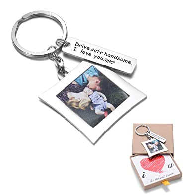 OFGOT7 Drive Safe Keychain I Need You Here with Me and Elegant Mini Photo  Frame, for Someone You Love, Trucker Husband Or for Boyfriend,dad