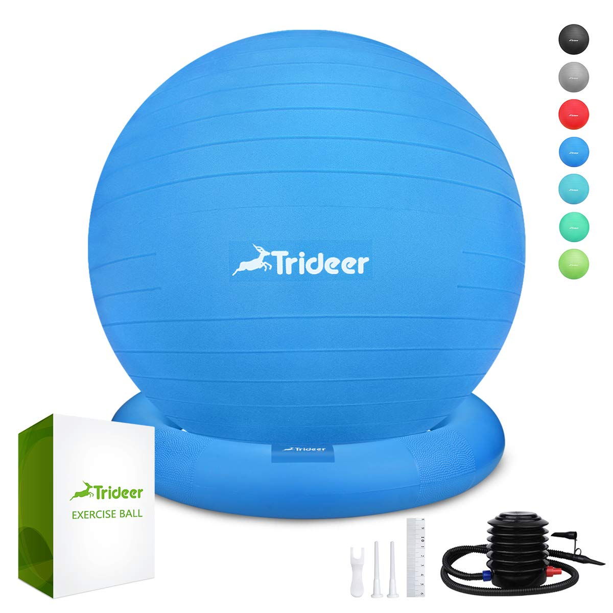 Trideer Ball Chair - Exercise Stability Yoga Ball with Base for Home and Office Desk, Ball Seat, Flexible Seating with Ring & Pump, Improves Balance, Back Pain, Core Strength & Posture(Ball with Ring by Trideer (Image #1)