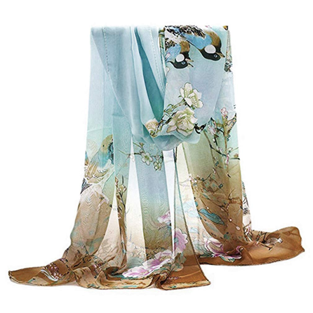 Herebuy - Unique Women's Floral Scarves: Chiffon Flowers & Birds Printed Scarf (Pale Green+Coffee)