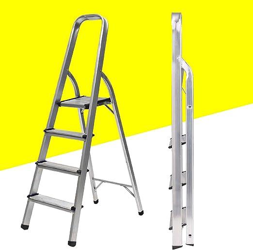Escalera de 4 peldaños plegable portátil Altas Trade ligera escalera de aluminio antideslizante con mango de goma de 330 libras de capacidad, escaleras domésticas: Amazon.es: Hogar