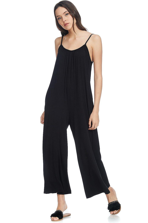 30c742fe3e9d Amazon.com  Alexander + David Womens Casual Loose Fit Spaghetti Strap Sexy Jersey  Jumpsuit (Black