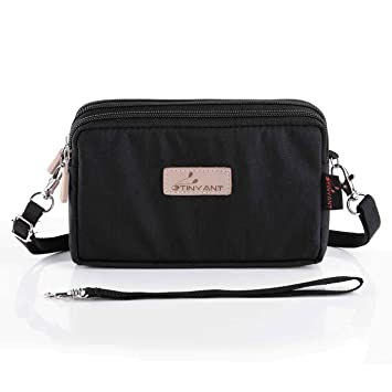 Buy liangdongshop Women s 3 Layers Wristlet Purse Zipped Cell Phone Clutch  Crossbody Handbags(Black) Online at Low Prices in India - Amazon.in 10a0b9af05