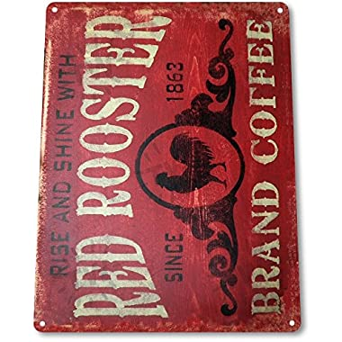 TIN SIGN  Coffee Red Rooster  Metal Decor Art Kitchen Store Bar A296