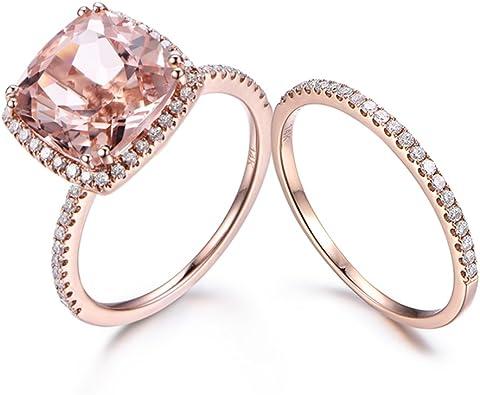 Custom order,5x7mm emerald cut CZ engagement ring,half eternity Milgrain Diamond wedding band,solid 14k rose gold,size 7.5