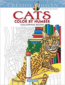 amazoncom creative haven cats color by number coloring book adult coloring 9780486818535 george toufexis books