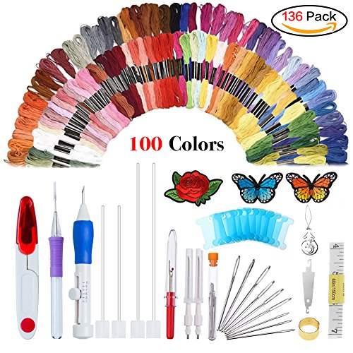 Magic Embroidery Pen Punch Needle,Embroidery Pen Set,Embroidery Patterns Punch Needle Kit Craft Tool,Including 100 Color Threads for DIY Threaders Sewing Knitting Embroidery Sewing Patterns