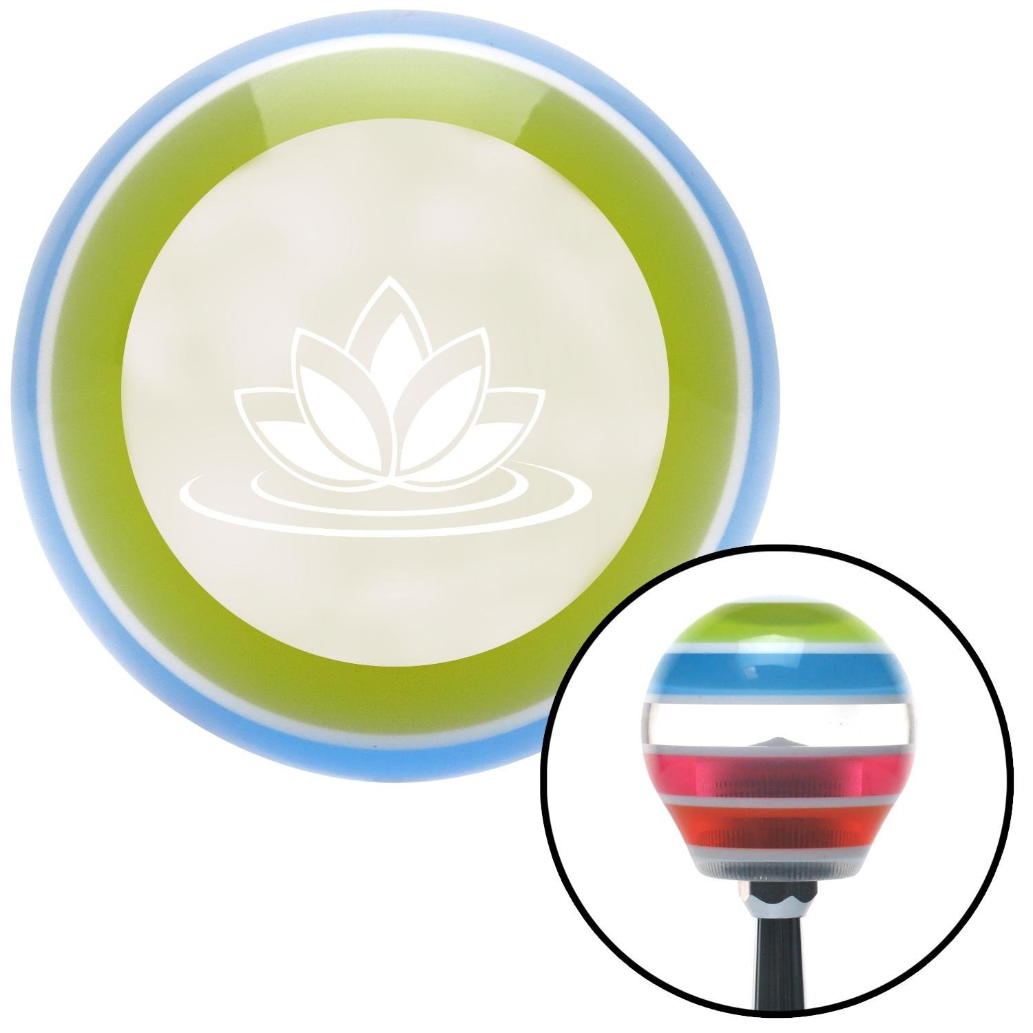 White Flower on Water American Shifter 135402 Stripe Shift Knob with M16 x 1.5 Insert