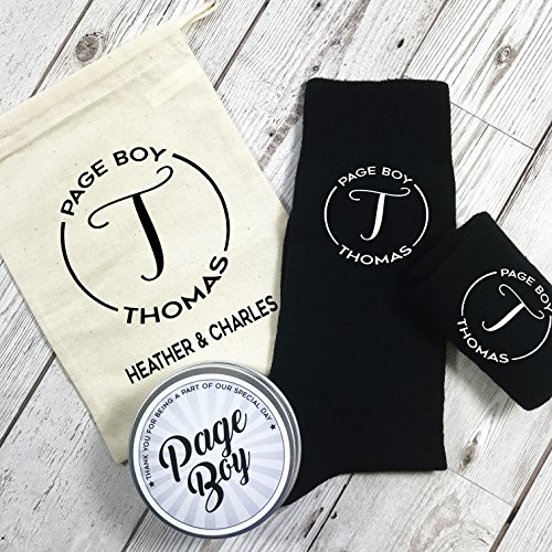 Monogram Personalised Page And Boy With Gift Bag Tin For Socks The rrCdqwP