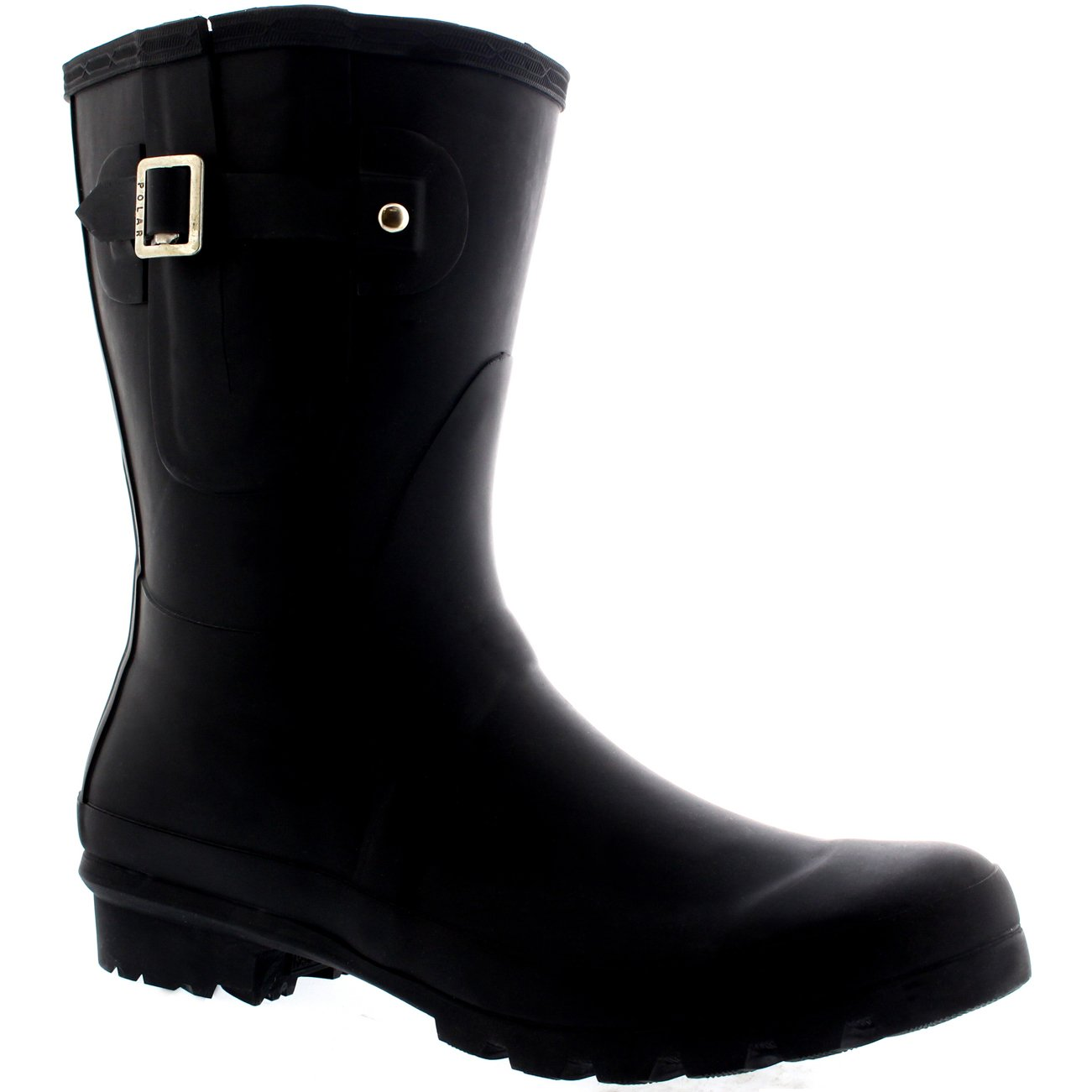 Polar Mens Adjustable Side Rubber Waterproof Rain Wellingtons Boots - Black - US13/EU46 - BL0232 by Polar Products (Image #3)