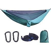 LXB Camping-Hängematte mit Moskitonetz, leichte tragbare Nylon-Hängematte 210T, Beste Fallschirm-Hängematte, Camping, Reise.