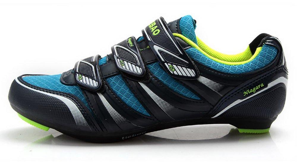 Weideng Men's Professional Cycling Sport Casual Ventilative Shoe Comfortable Fiberglass-Nylon Outsole Road Bike Shoes Blue 44