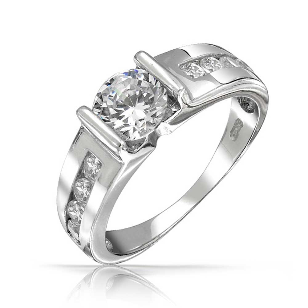 Bling Jewelry Side Bars Round CZ Engagement Ring Sterling Silver, Ring size 6