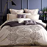 UFO Home Fancy 100% Washed Silk Cotton Sateen Material Zipper Closure Printing Mire Paisley Design 4pc Duvet Cover Set Beige Color Full/Queen Size(4pc Queen, Valencia)