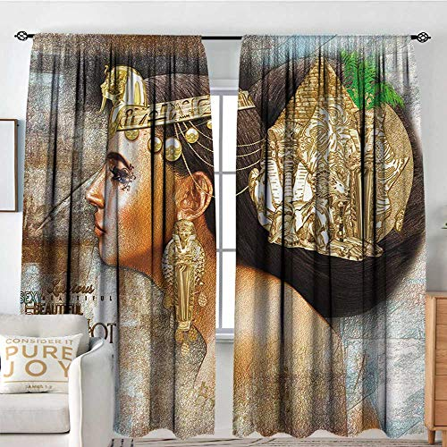 Blackout Thermal Insulated Window Curtain Valance Egyptian,Woman Queen Cleopatra Profile Historical Art Scene with Ancient Pyramid Sphinx,Multicolor,Rod Pocket Valances 54