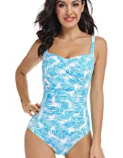 AS ROSE RICH Women's 1 Piece Tummy Control Swimsuit Push Up Bra Bathing Suit in Palm Leaf Print