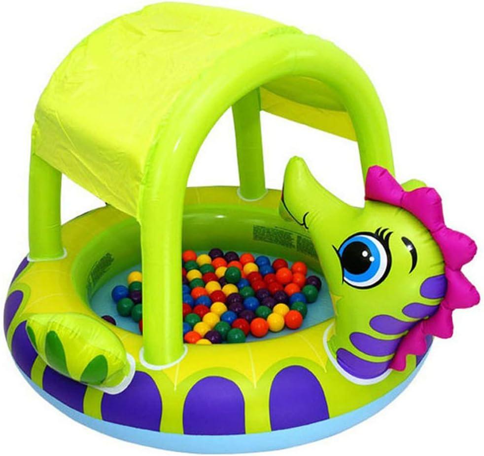 QXM Piscina para bebés Cubierta de hipocampo Piscina para bebés de Animales Lindos,Green